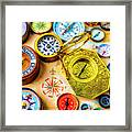 Compass And Compass Rose Framed Print