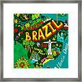 Illustrated Map Of Brazil Framed Print
