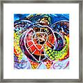 Neon Sea Turtle Wake And Drag Framed Print