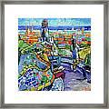 Park Guell Enchanted Visitors - Impasto Palette Knife Stylized Cityscape Framed Print