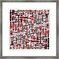 Red Black White Geometric Framed Print
