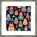 Seamless Colorful Retro Russian Doll Framed Print