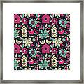 Seamless Floral Pattern With  Birdhouses Framed Print