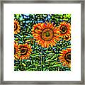 Sunflowers Stained Glass Art Framed Print