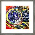 Violet Fish On Red And Yellow Framed Print