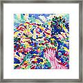 Blossom Wildflower Meadow On Rolling Hill Painting, Colorful Spring Blossoming Landscape Art Framed Print