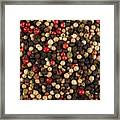 Bowl Of Various Pepper Peppercorns Seeds Mix On Dark Stone Framed Print