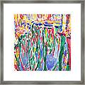 Forest river reflection oil painting on canvas, colorful psychedelic trees water landscape Framed Print