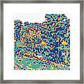 River and forest landscape painting minimalism conceptual colorful red blue yellow Framed Print