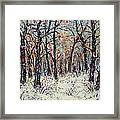 Snowing In The Forest Framed Print