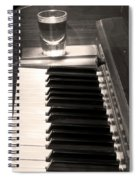 A Shot Of Bourbon Whiskey And The Bw Piano Ivory Keys In Sepia Spiral Notebook