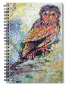 Acrylic Painting Fuzzy Yellow Owl  Spiral Notebook