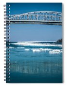 Blue Water Bridges With Reflection And Ice Flow Spiral Notebook