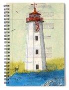 Faulkner Island Lighthouse Ct Nautical Chart Map Art Spiral Notebook