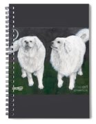 Great Pyrenees Dogs Night Sky Cathy Peek Animal Art Spiral Notebook