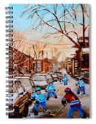 Hockey Art- Verdun Street Scene - Paintings Of Montreal Spiral Notebook