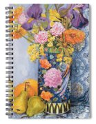 Iris And Pinks In A Japanese Vase With Pears Spiral Notebook