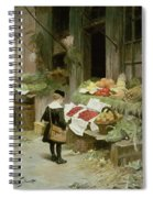 Little Boy At The Market Spiral Notebook