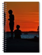Perfect Ending - 3 Friends On A Pier As The Hot Summer Sun Sets On The Indian River Bay Spiral Notebook