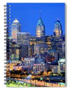 Philadelphia Skyline At Night Evening Panorama Spiral Notebook