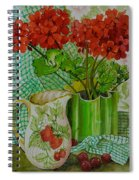 Red Geranium With The Strawberry Jug And Cherries Spiral Notebook