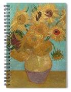 Vase With Twelve Sunflowers Spiral Notebook