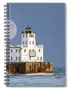 0186 Moon Over Milwaukee Breakwater Lighthouse Spiral Notebook