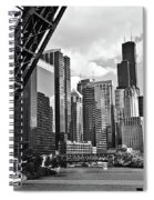 0365 North Branch Chicago River Black And White Spiral Notebook