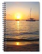 0531 Sailboats At Sunset On Sound Spiral Notebook