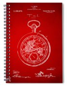 1916 Pocket Watch Patent Red Spiral Notebook