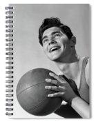 1950s Smiling Boy Holding Basketball Spiral Notebook