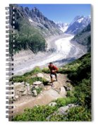 A Man Trail Runs In Chamonix, France Spiral Notebook