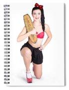 A Pin Up Girl Holding A Little Wooden Skateboard Spiral Notebook