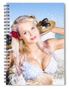 Active Sexy Summer Beach Babe With Skateboard Spiral Notebook