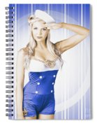 American Pinup Poster Girl In Military Uniform Spiral Notebook