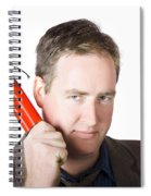 Angry Business Man Holding Stick Of Dynamite Spiral Notebook