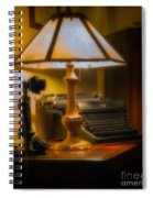 Antique Lamp Typewriter And Phone Spiral Notebook