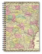 Antique Map Of Arkansas 1855 Spiral Notebook