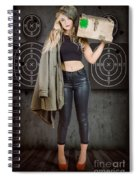 Army Pinup Girl At Rifle Range. Bullet Proof Spiral Notebook