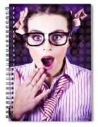 Attractive Young Nerd Girl With Surprised Look Spiral Notebook
