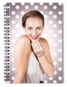 Attractive Young Retro Girl With Look Of Surprise Spiral Notebook