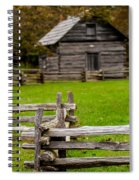Beautiful Autumn Scene Showing Rustic Old Log Cabin Surrounded B Spiral Notebook