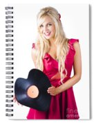 Beautiful Blonde With Heart-shaped Record Spiral Notebook