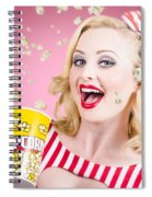 Beautiful Girl Watching Premier At Movie Theater Spiral Notebook