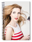 Beautiful Model Hair Styling Long Red Hairstyle Spiral Notebook