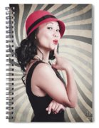 Beautiful Model In Vintage Fashion Accessories  Spiral Notebook