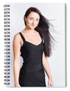 Beautiful Model With Long Straight Brunette Hair Spiral Notebook