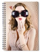 Beautiful Surprised Girl Wearing Big Sunglasses Spiral Notebook