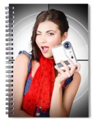 Beautiful Woman Holding Home Video Camera Spiral Notebook
