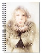 Beautiful Young Woman Blowing Snow In Winter Style Spiral Notebook